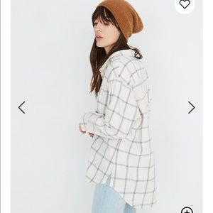 Madewell flannel oversized shirt in windowpane